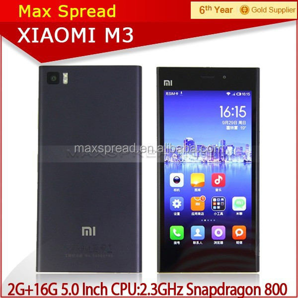 "100% Original Xiaomi Mi3 M3 SmartPhone Qualcomm 800 CPU 2.3GHz Quad Core Android Phone 5.0"" FHD 441PPI 13.0Mp Camera WCDMA/GSM"