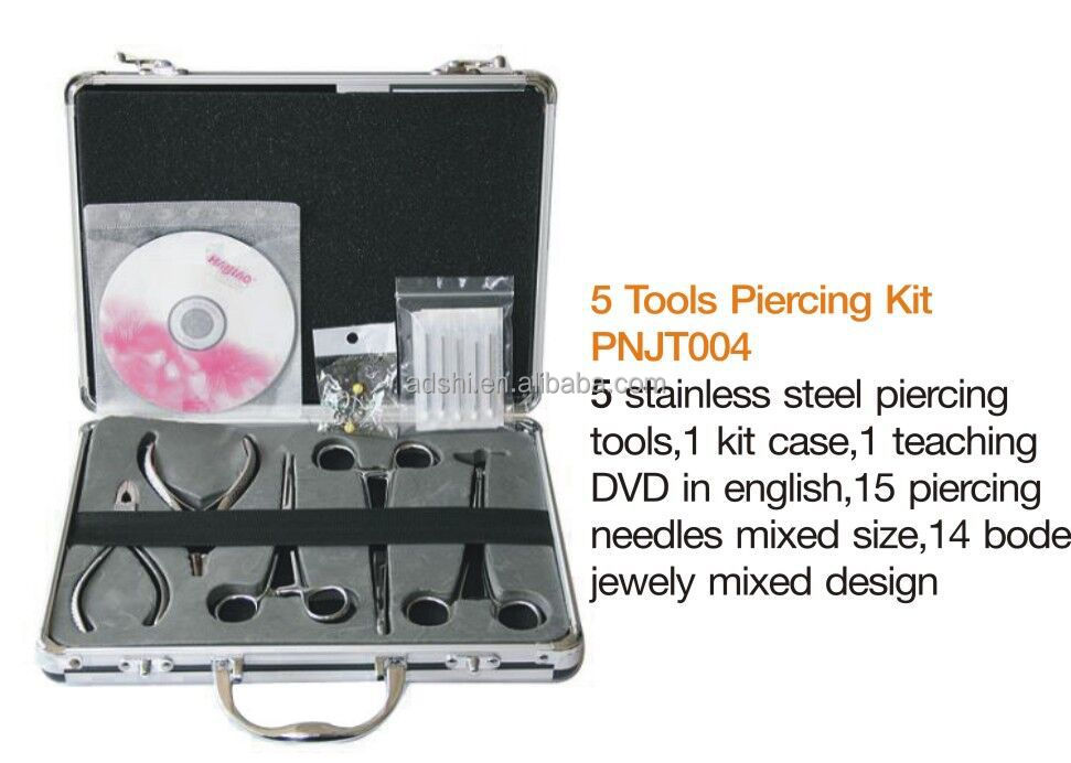 Stainless Steel sterilized tattoo body piercing Tools kit, body jewlery piercing set