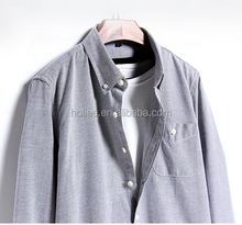 Grey White Long sleeves shirts Men's Cotton Oxford Slim Fit Shirt