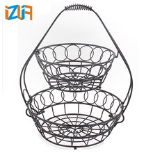 Wholesale China manufacture black paint 2 tier metal wire metal fruit basket
