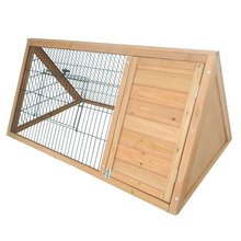 Outdoor Triangular Wooden Bunny Rabbit Hutch/Guinea Pig House with Run