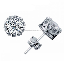 Solid 925 sterling silver Crown Round Cubic Zircon Crystal earring