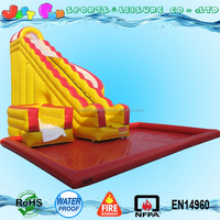 commercial inflatable water park slide with inflatable pool, factory price giant inflatable twister water slide for sale