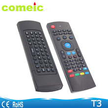 T3 Wireless air fly mouse with QWERTY keyboard IR Learning remote control for smart tv iptv