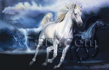 White horse wild animal painting