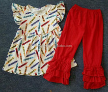 Sweet boutique short sets pearl tunics and ruffle outfits back to school crayons printing set