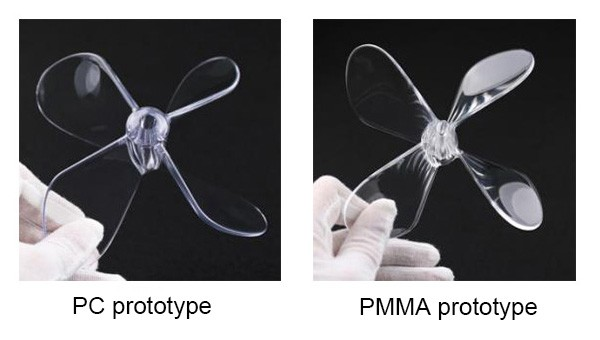 Test parts transparent clear PMMA acrylic rapid prototypes in China