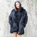 CX-G-A-91B Womens Fur Coats Ladies Winter Long Knitted Raccoon Fur Coat