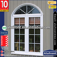 aluminium arched top casement window with grilles design