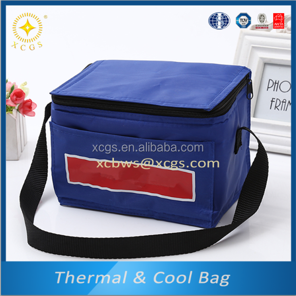 Polyester laminated PVC cooler bag with zipper on the top