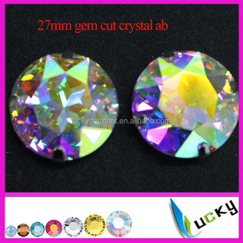 Best Quality 27mm large round shape gem cut point back crystal ab strass with metal settings K9 rhinestones