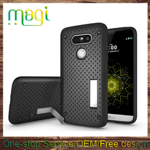 heat radiation Mesh Polka Dot Kickstand tpu pc Phone Cases for LG G5