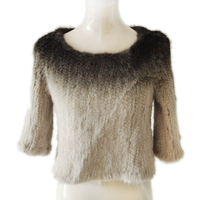 New style ladies` real mink fur top with 3/4 sleeve,Gradient color,KZ14082