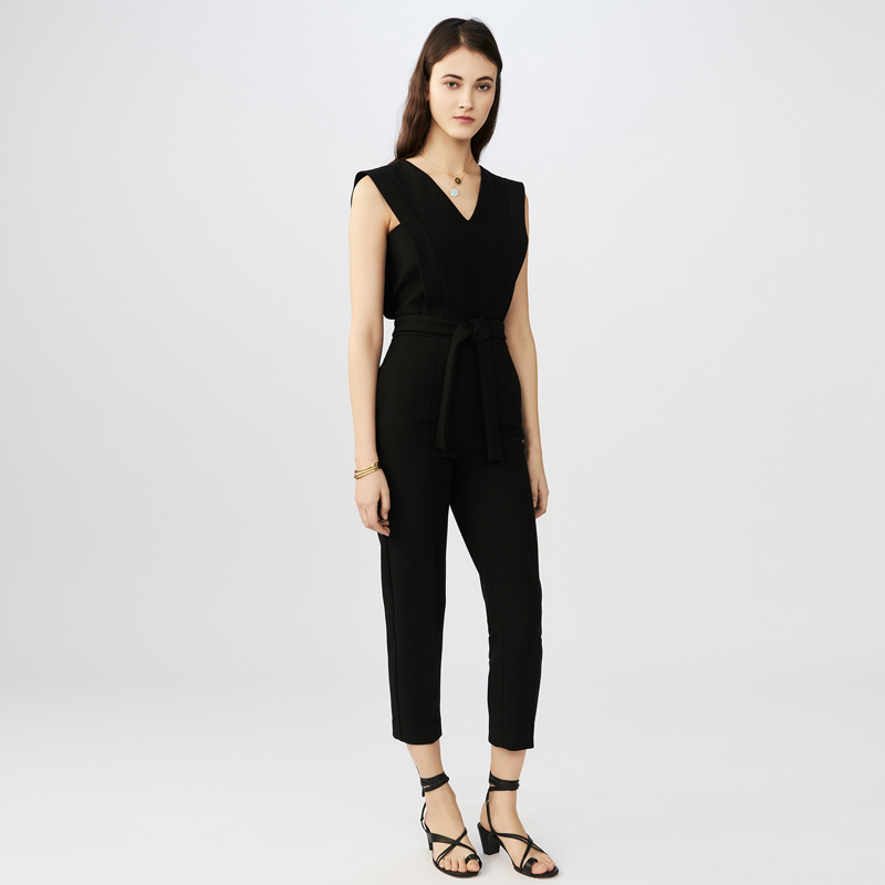 V neck popular black jumpsuit