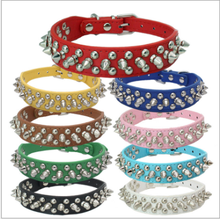 2017 best seller Wide Spiked Dog Collar Studded Pu Leather Dogs Collars for Pitbull Medium Large Breeds Dogs Black Pink Red