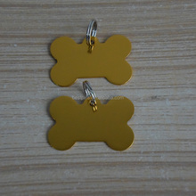 metal aluminum anodized gold color bone shape pet tags custom