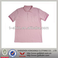 High Quality Solid Pink Color Pockets Short Sleeve Cotton/Polyester Polo Shirt For Men
