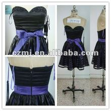 Ladies Ready Made Dresses Evening Dress With Belt Black and Blue Wedding Dresses