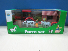 N+ New item--Friction power farmer car with animal and house set.2 color assorted.Friction car.Farmer set.SF210255