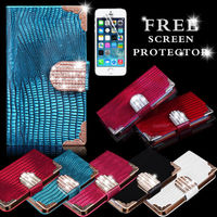 BLING DIAMOND MAGNETIC WALLET FLIP PU LEATHER CASE COVER FOR IPHONE 5G 5S
