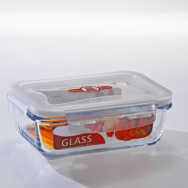 Rectangular microwavable heat resistant glass casserole lunch box