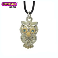 Prefessional jewelry supply unique design 3D diamond owl charm necklace