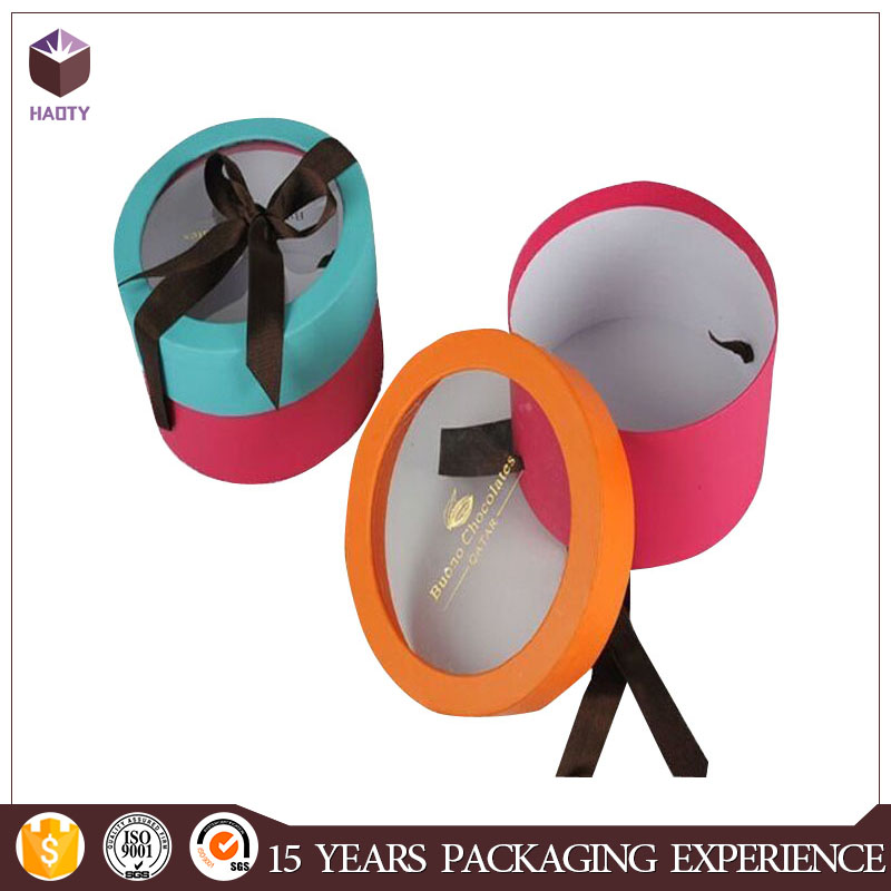 Round gift paper card box lid and based gift box