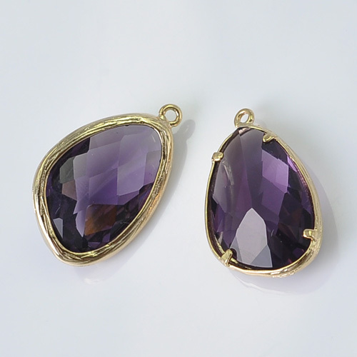 Wholesale Jewelry Findings Purple Amethyst Marquise Glass Pendants Gold Bezel Set Charms Glass Beads Craft Supplies DIY P9172