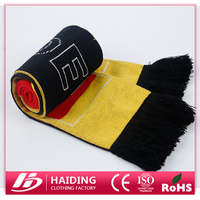 Hot sales wholesale fashion 100% acrylic football fans scarf,knitted football scarf