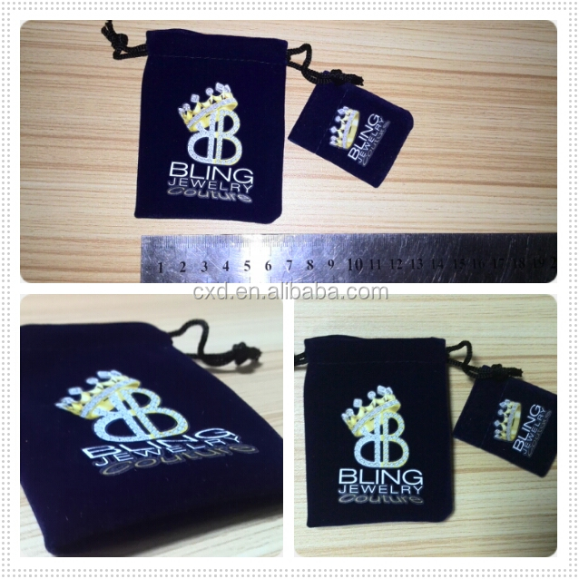 Wholesale custom Logo gift printing pouch velvet drawstring bag