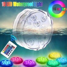 Remote Control Battery Operated Submersible LED Lights-10 Leds RGB Pool Lights Multi Color Waterproof Accent Light