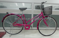 1 speed city bicycle for lady with headlight basket and carrier