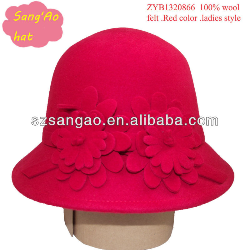 Wholesale/Customized fashion Red fedora bucket caps ladies casual lana females wear cap100%wool for wedding/beach hat/summer hat