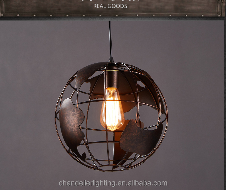 Industrial wind hall creative globe iron restoring ancient personality droplight
