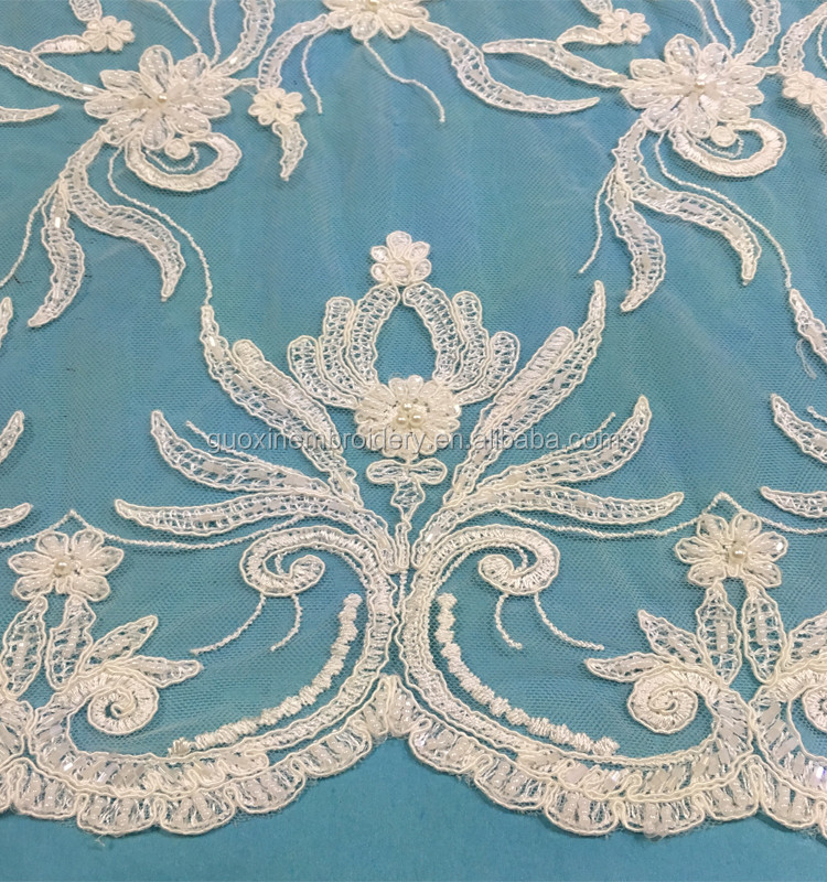 2017 Bridal hand made beaded lace fabric wholesale