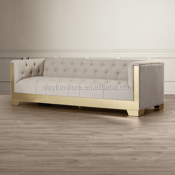 The best price fabric chesterfield sofa modern style metal legs button tufted furniture for wedding event