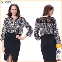 Latest printed blouse designs lace blouse model blouse with lace