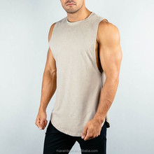 95% Cotton 5% Spandex Mens Longline Curved Hem Tank Top with Side Split Lifestyle Cut off Shirt Muscle Fit Gym Tank Top