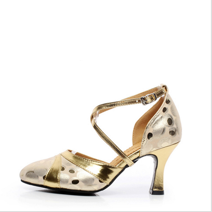 Sexy Ladies Latin Dance Shoes Women golden polka dot latin shoes