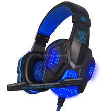 Best Computer Wired Gaming Headset With Microphone Mic LED light for PC slim headset with mic