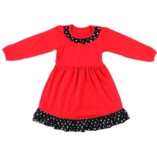 New arrive fall knit boutique remake clothes wholesale cute baby ruffle long sleeve red evening dress