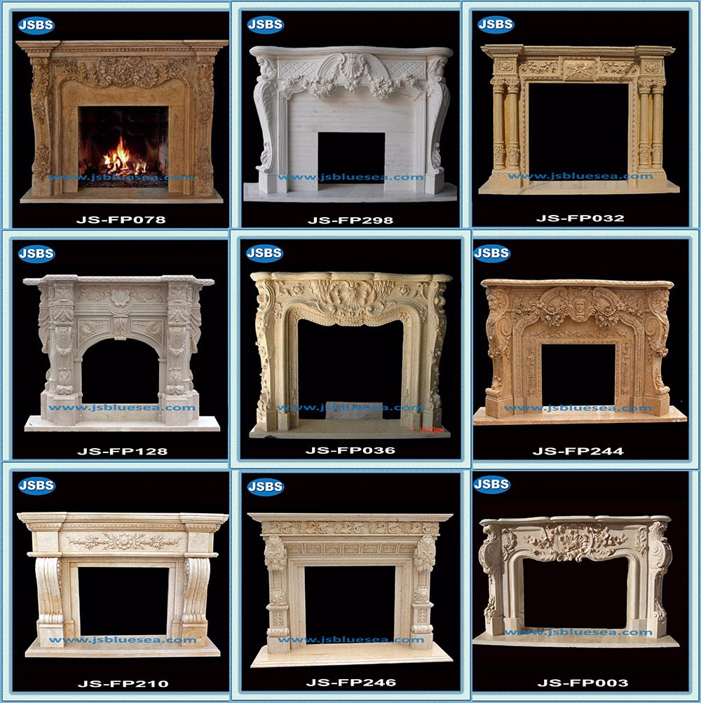 Hot Selling Beautiful Stone Carving Luxury Indoor Villa Marble Fireplace Mantels