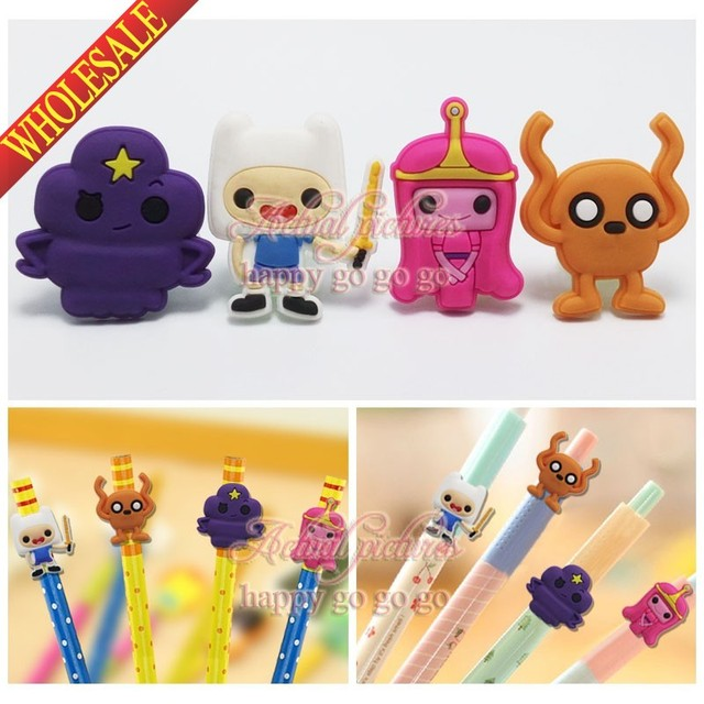 4pcs/set  Adventure Time with Finn & Jake PVC Pencil Tops toppers for Kids Students School Stationery Supplies Pens Accessories