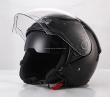 Black DOT approved open face motorbike helmet