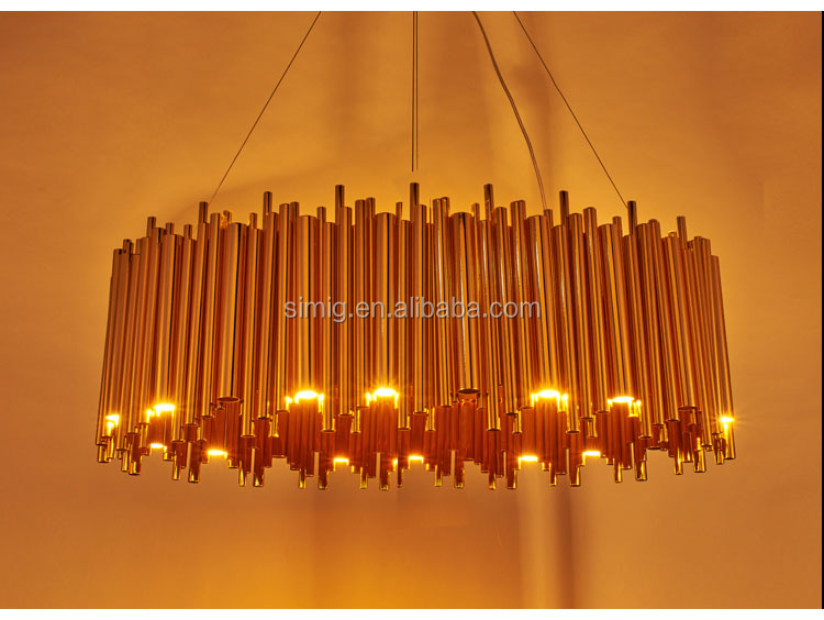modern creative gold color minimalist light Delightfull organ flat tube chandelier light