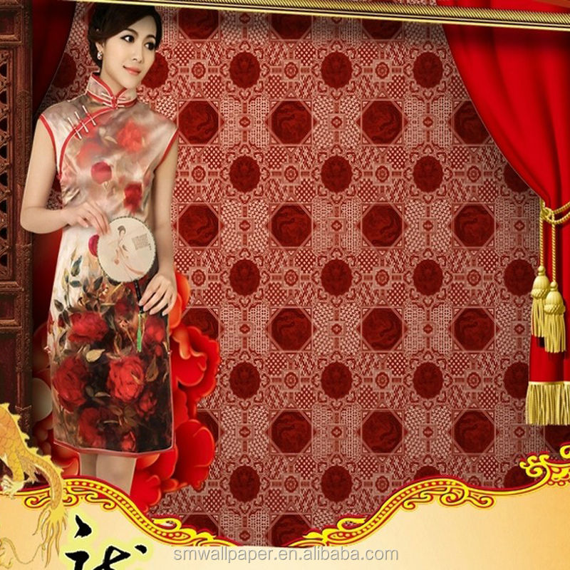 Red Hot Sexy Chinese Design Wallpaper Non-woven Wallpaper