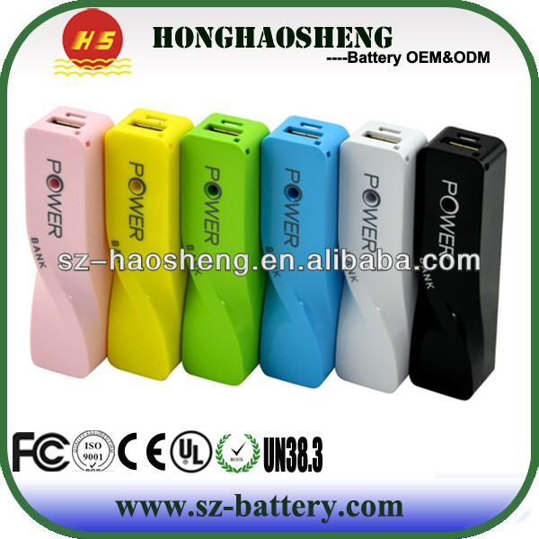 Fashional mini 2600mAh cell phone power bank portable charger