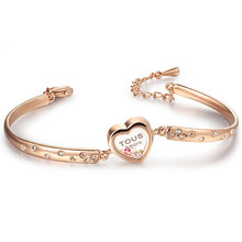 Children jewelry heart gold plated crystal custom bracelet