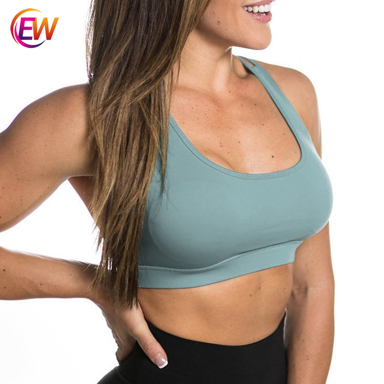 Private Label Compression Spandex Activewear Women Sports Bra Tops