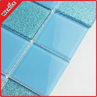 mixed color decorative glass pool mosaic tiles price 25*25